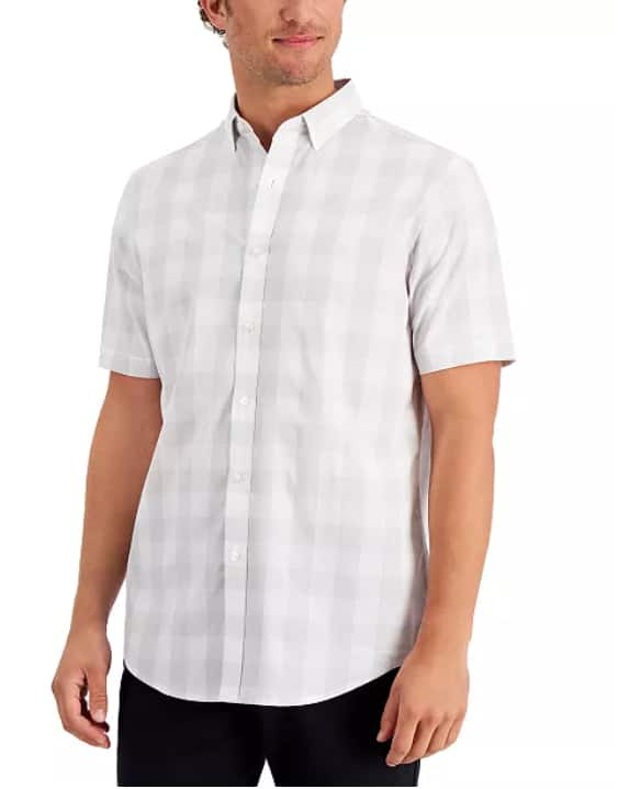 Club Room Men's Short Sleeve Printed Shirt $10 & More + 6% SD Cashback + Free Store Pickup at Macy's or FS on $25+