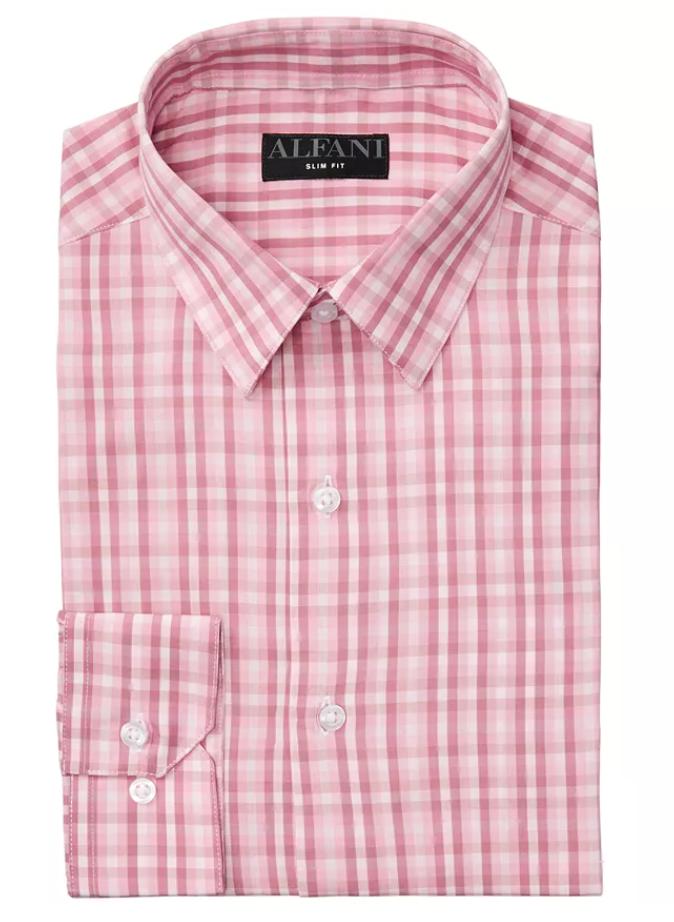 Alfani Men's AlfaTech Gingham Dress Shirt (Pink) $8 & More + 6% Slickdeals Cashback + Free Store Pickup at Macys or FS on $25+