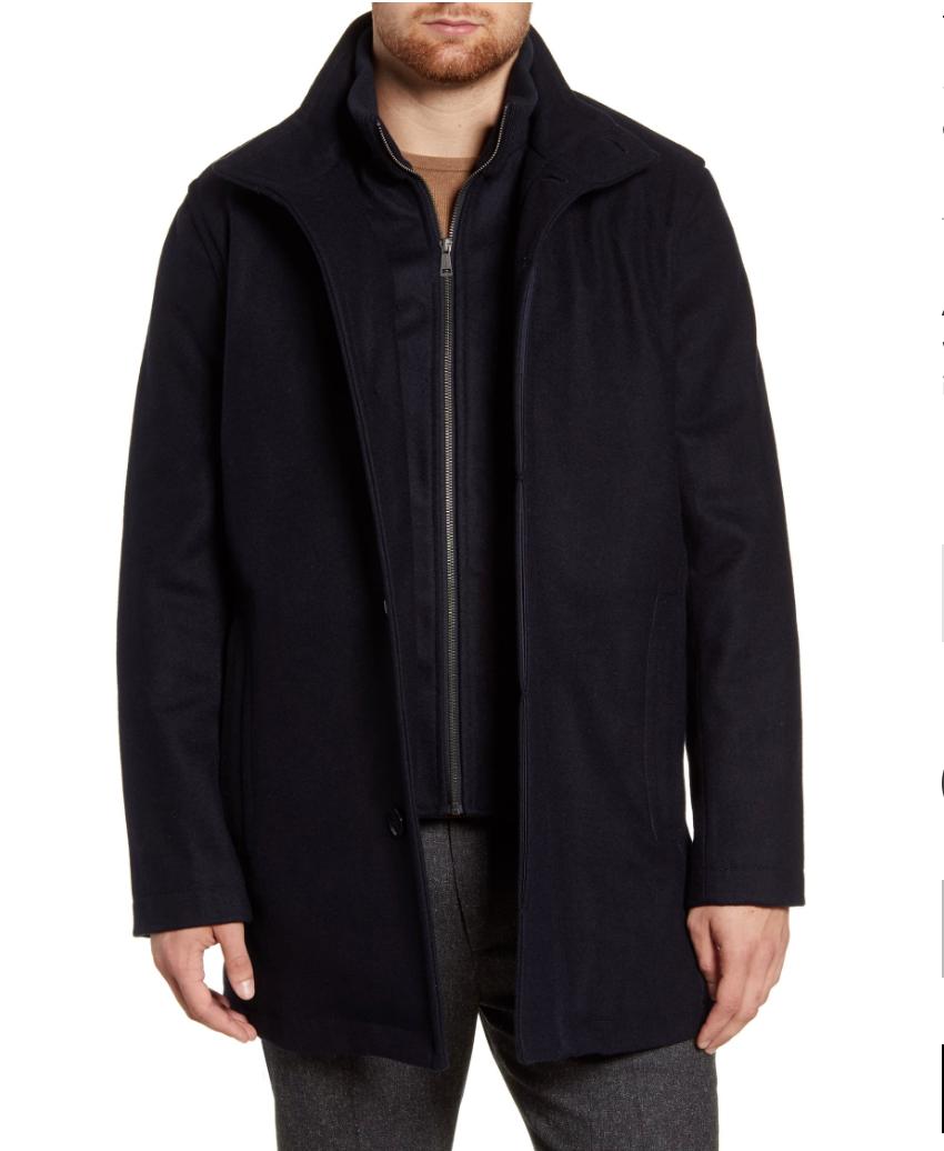 Cole Haan Men's Melton Wool Blend Coat $118 + Free Shipping