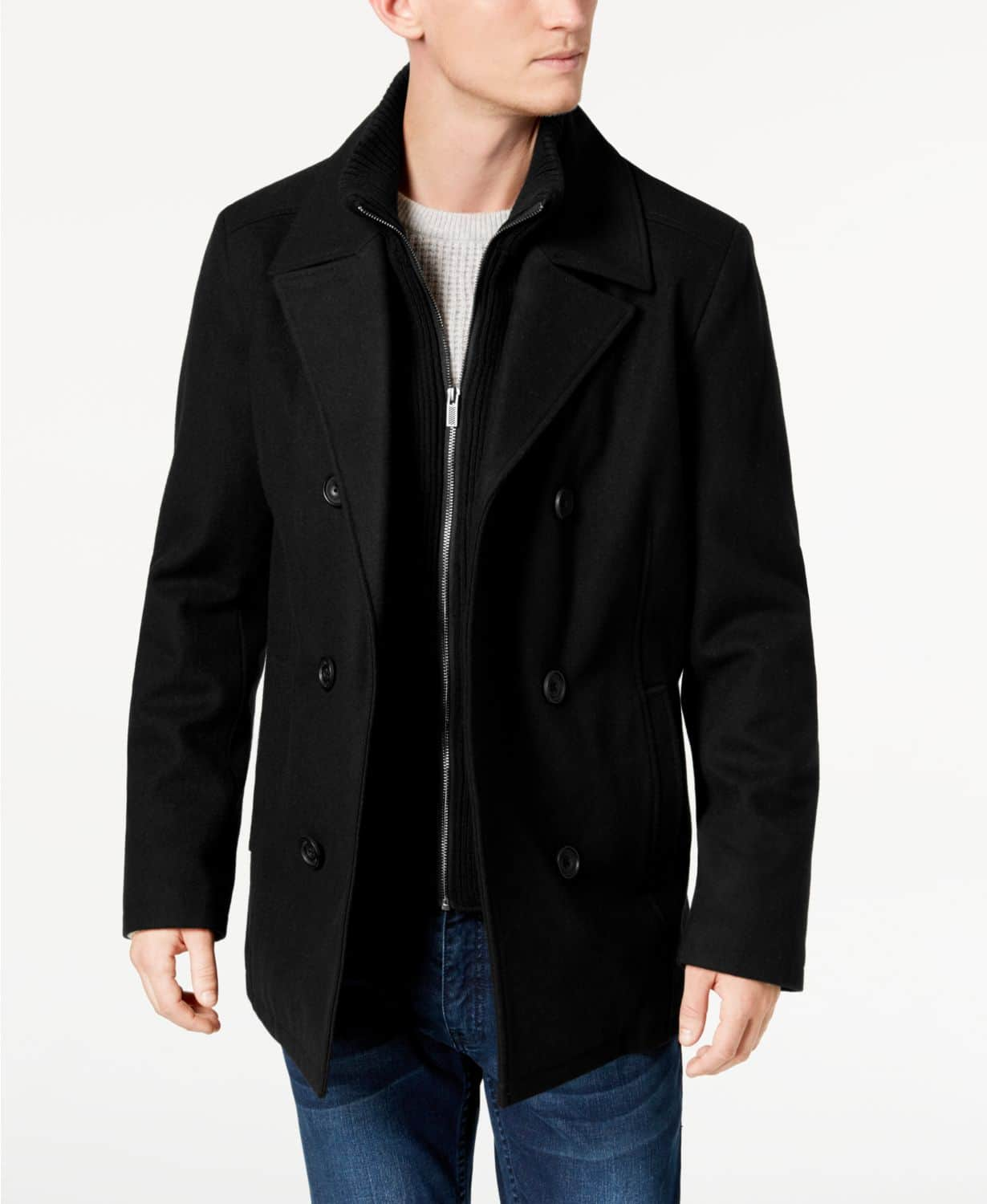 Kenneth Cole Men's Double Breasted Wool Blend Peacoat with Bib $80 + Free Shipping