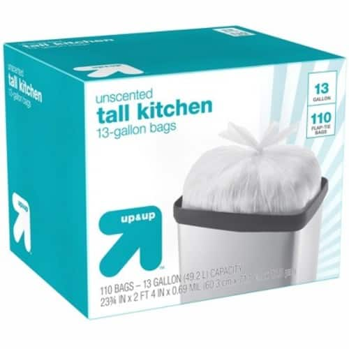 110-Count 13-Gallon Up & Up Flap Tie Tall Kitchen Trash Bags $9 + Free Store Pickup at Target