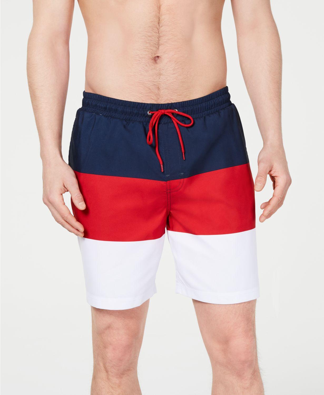 "7"" Club Room Men's Colorblocked Swim Trunks $15 & More + Free Shipping $25+"
