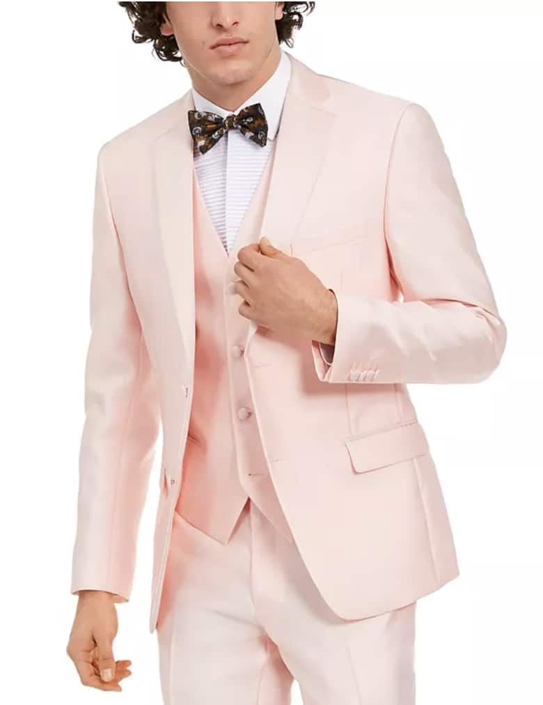 Alfani Men's Slim-Fit Stretch Pink Solid Tuxedo Jacket & Pants $36 & More + Free Shipping $25+
