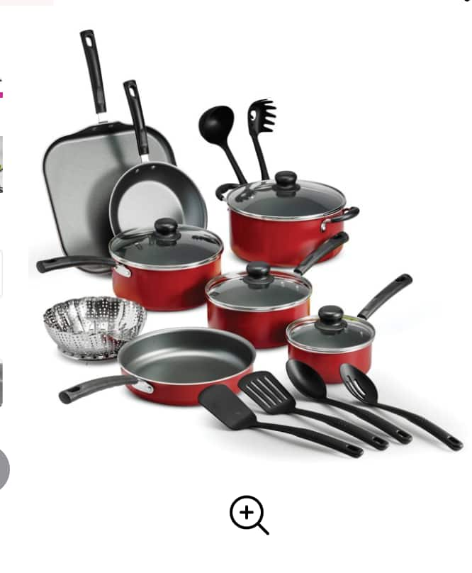 18-Piece Tramontina Primaware Non-Stick Cookware Set (Red or Steel Gray) $36 + Free Shipping