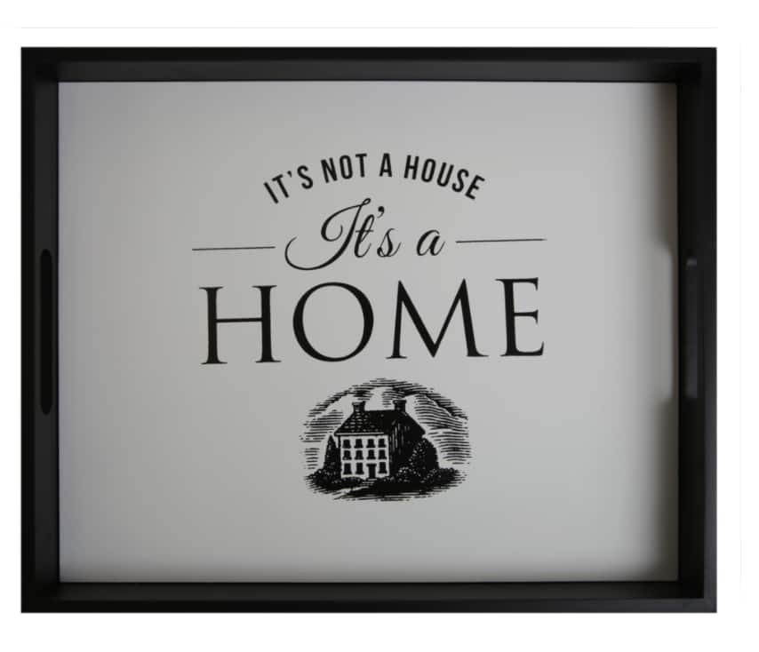 """Mainstays """"It's Not A House..it's A Home"""" Decorative Wood Tray (Black) $7.50 + Free S/H $35+"""
