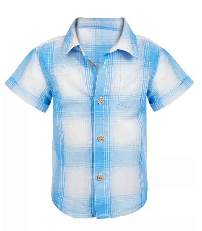 First Impressions Baby Boys' Ombre Plaid Shirt $4.50 & More + Free Store Pickup at Macy's