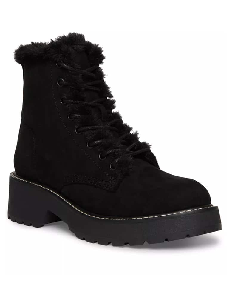 Madden Girl Women's Carra Faux-Fur Combat Booties (black or sand) $20 + Free Store Pickup at Macy's