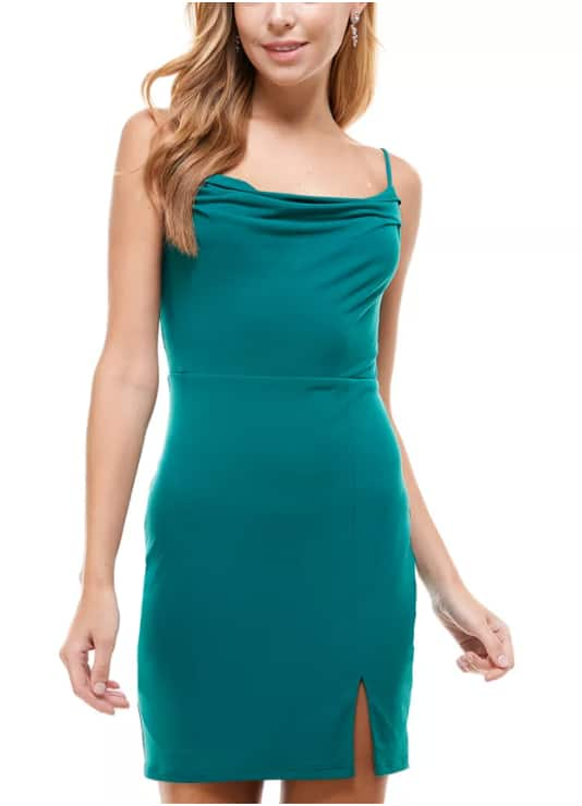 Macy's Women's and Juniors' Dresses up to 80% off: City Studios Juniors' Plunge-Neck Glitter Bodycon Dress $11 & More + Free Store Pickup