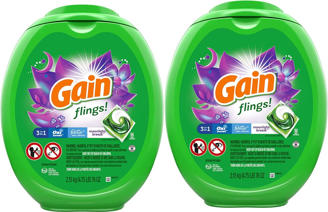 96-Count Gain flings! Laundry Detergent Pacs (Moonlight Breeze) 2 for $27.74 ($13.81 each) w/ S&S + Free Shipping