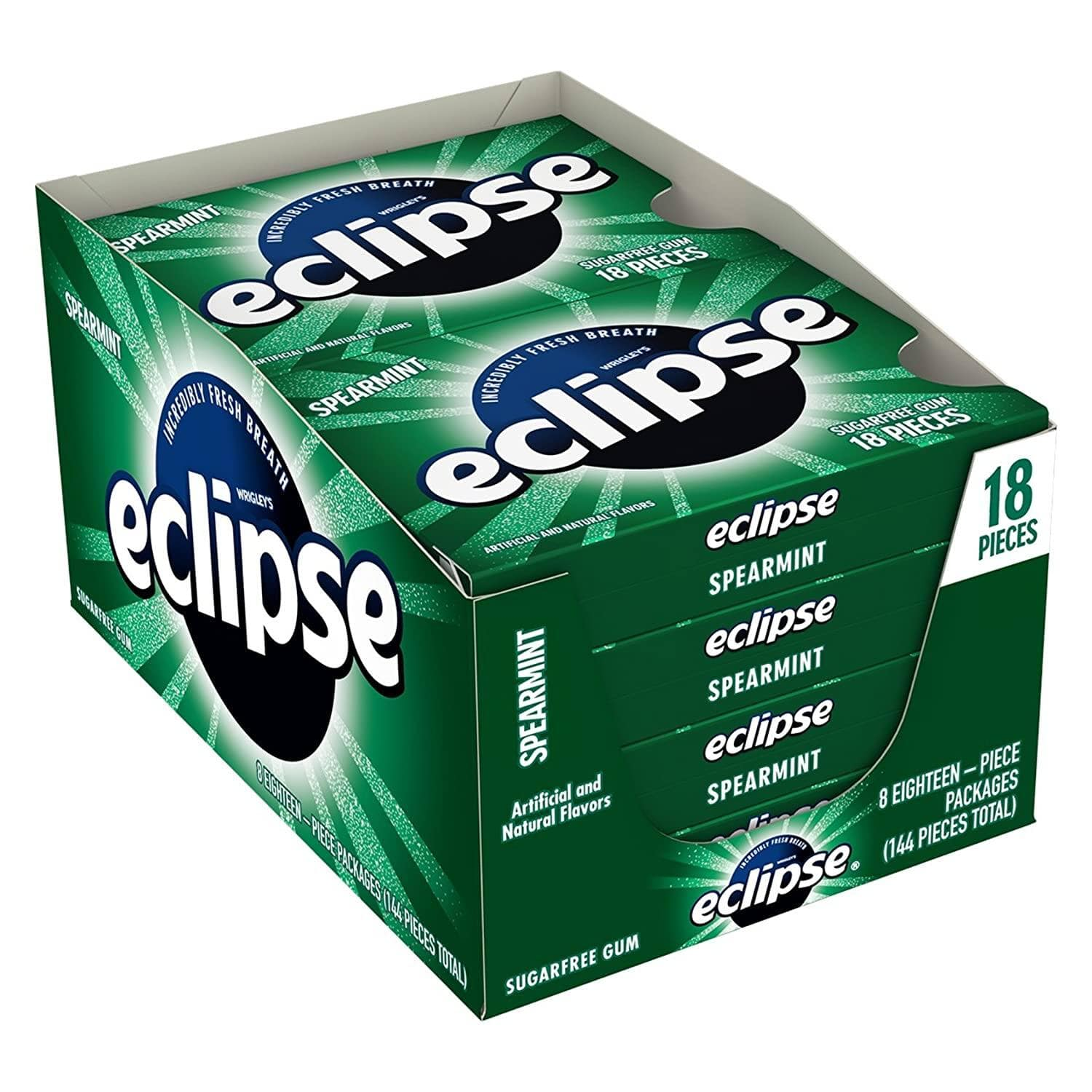 8-Pack 18-Piece Eclipse Sugar Free Gum (Spearmint) $4.80 w/ S&S + Free Shipping w/ Prime or on $25+