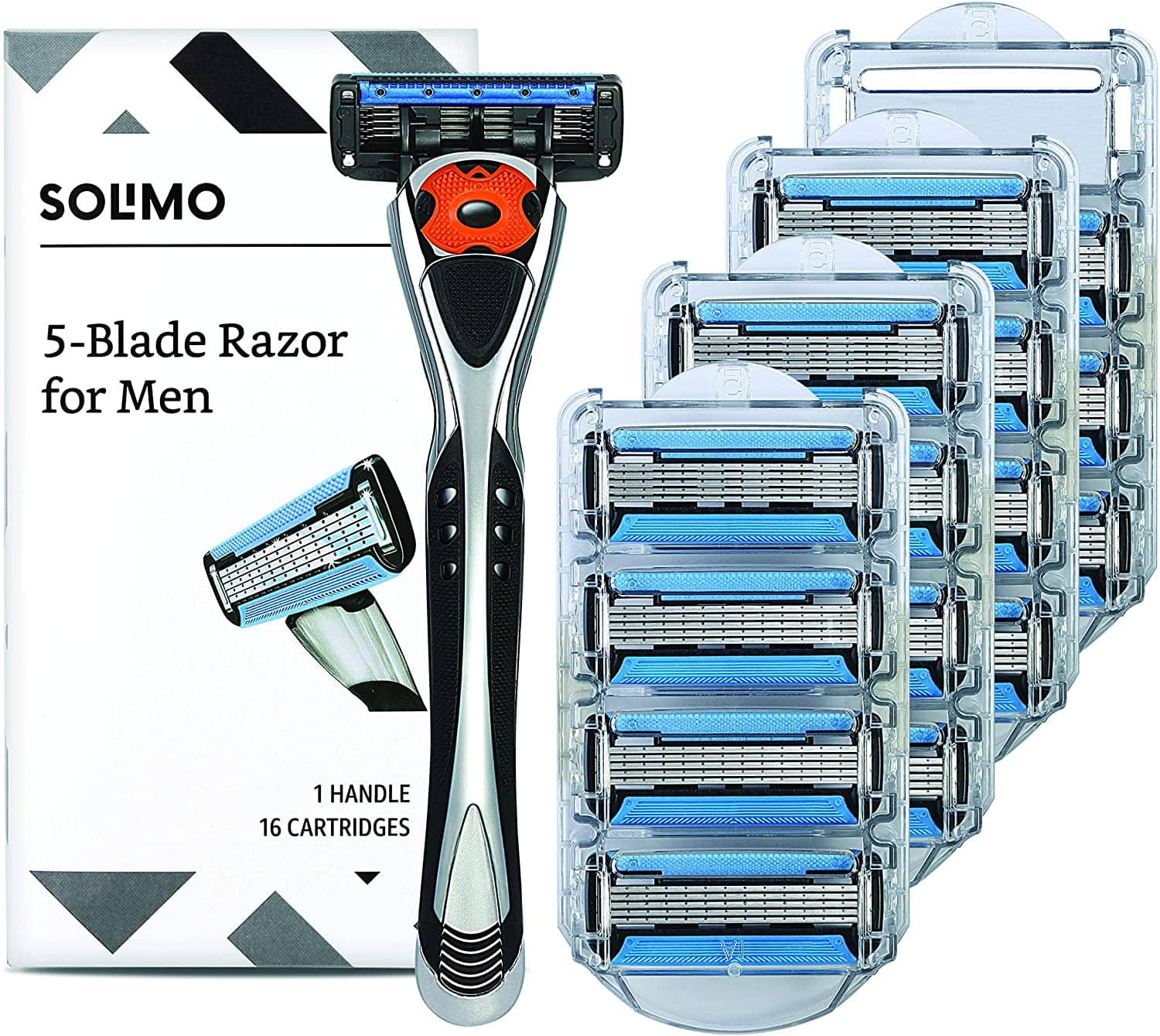 Prime Members: Solimo Men's 5-Blade MotionSphere Razor + 16 Cartridges $13.49 w/ S&S + Free Shipping