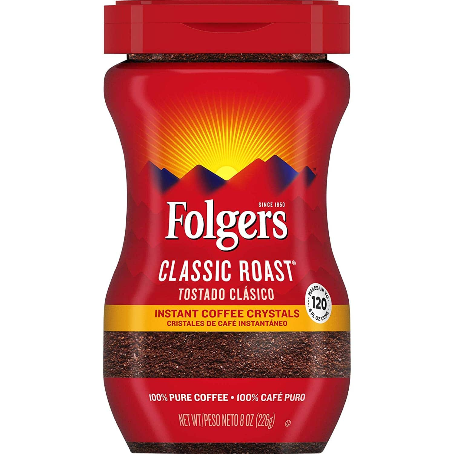 8-Oz Folgers Classic Roast Instant Coffee Crystals $3.97 w/ S&S + Free Shipping w/ Prime or on $25+