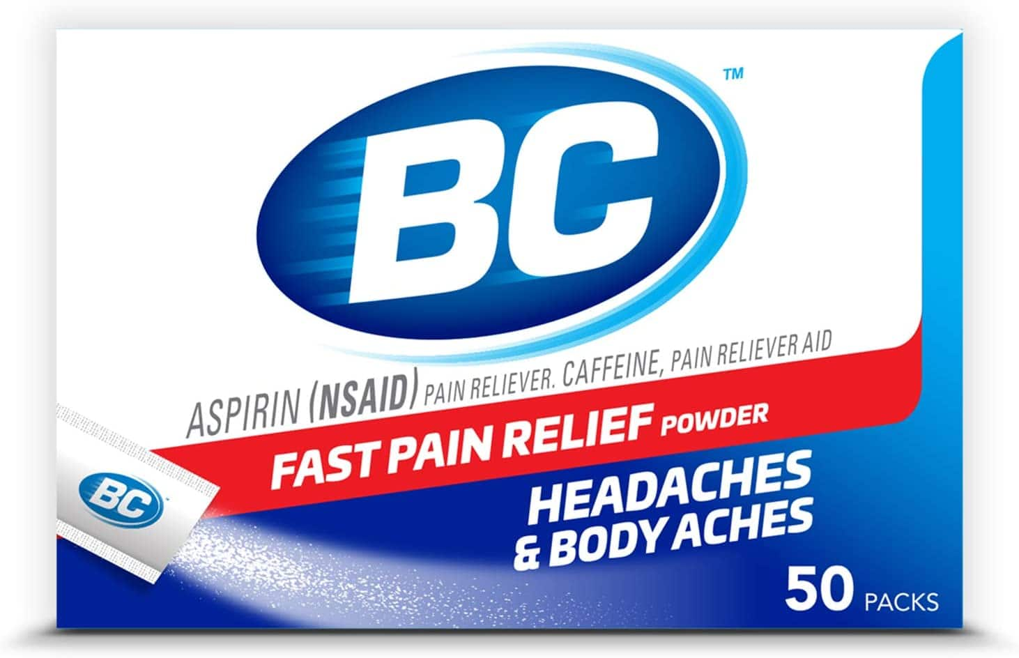 50-Count BC Powder Stick Packs (NSAID + Caffeine) $3.30 w/ S&S + Free Shipping w/ Prime or on $25+