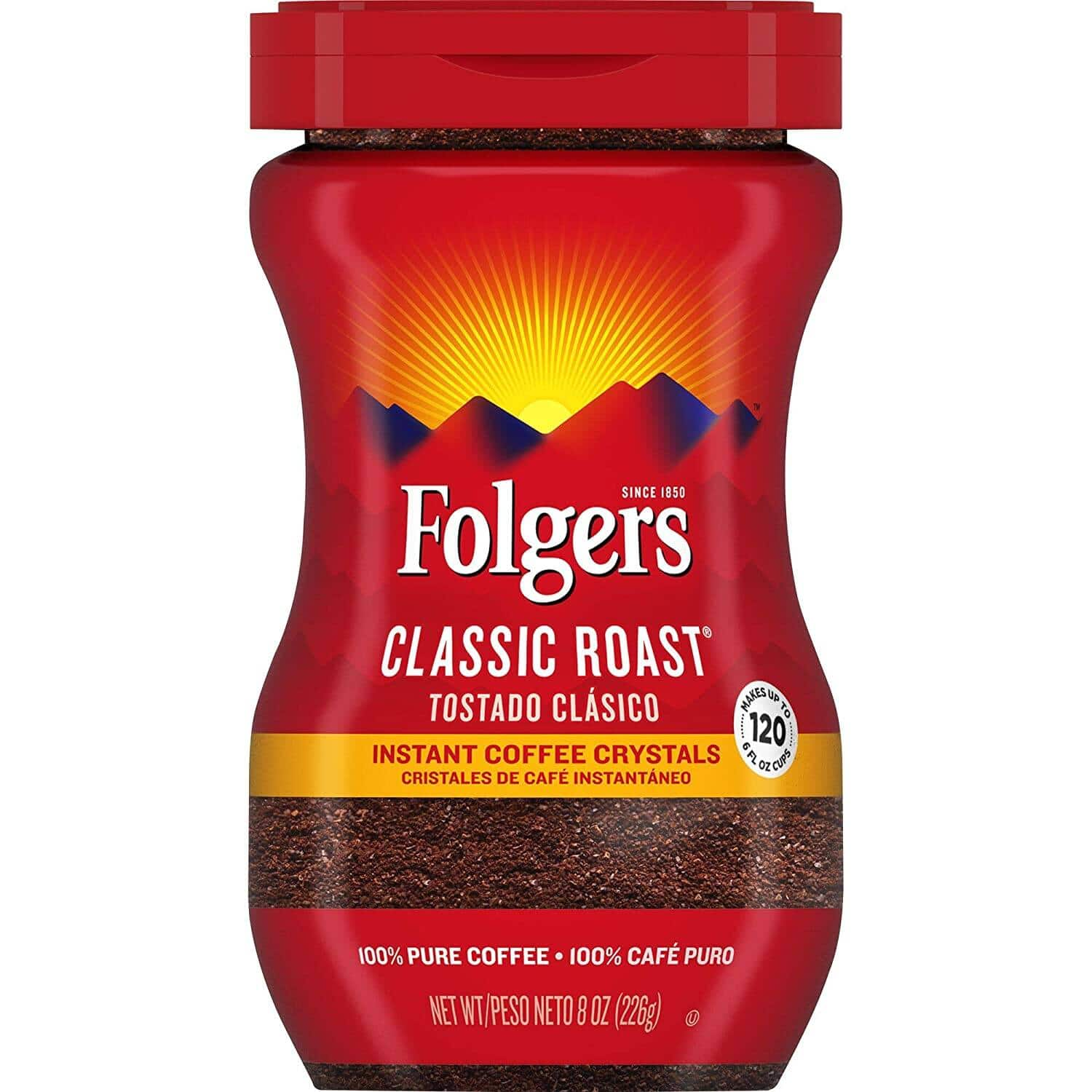 8-Oz Folgers Classic Roast Instant Coffee Crystals $3.41 w/ S&S + Free Shipping w/ Prime or on $25+