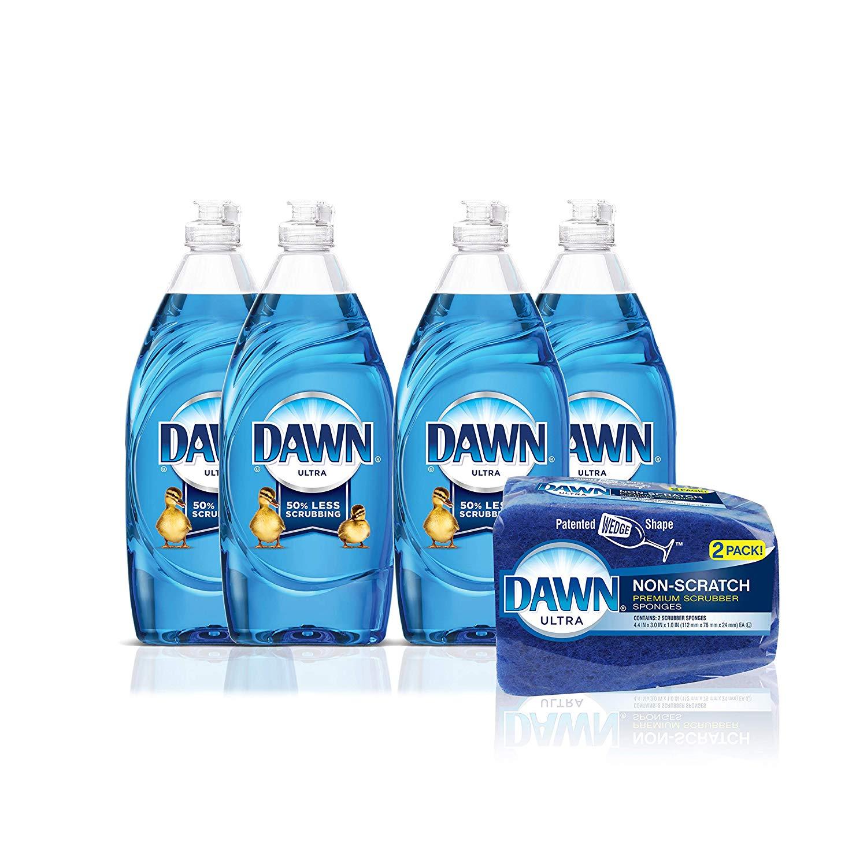 4-Pack 19oz. Dawn Ultra Liquid Dish Soap + 2-Count Dawn Sponge