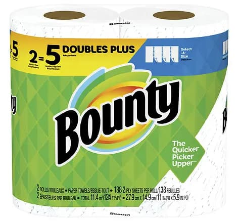 2-Pack Bounty Select-A-Size Double Plus Rolls $3.99, 6-Pack Charmin Super Mega Rolls $10.99 + Free Shipping