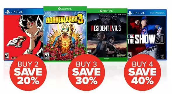 GameStop Select Pre-Owned Games (PS4 or Xbox One): 20% Off 2, 30% Off 3, 40% Off 4  + Free Shipping on $35+