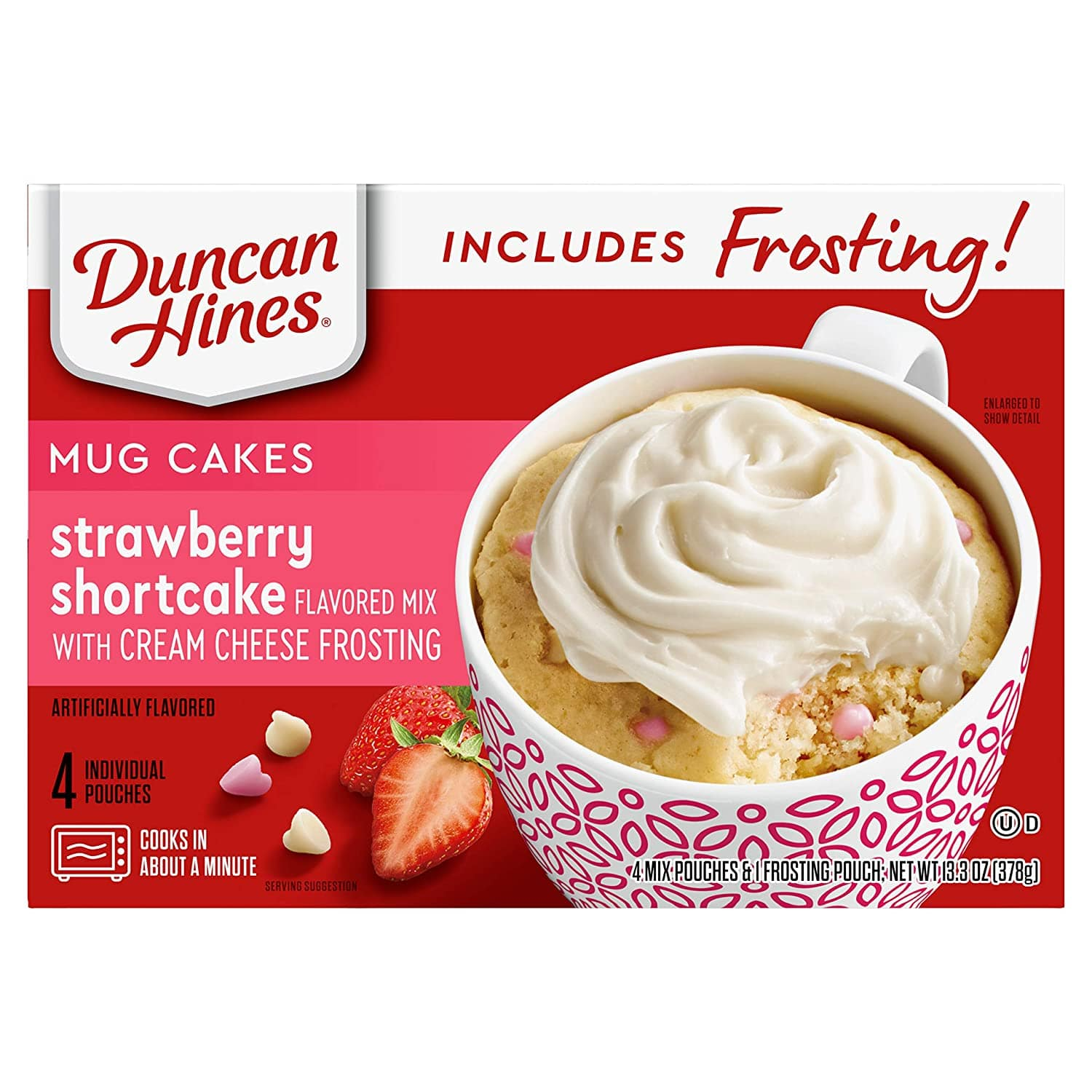 4-Ct Duncan Hines Mug Cakes (Strawberry Shortcake Mix w/ Cream Cheese Frosting) $1.75 w/ S&S + Free Shipping w/ Prime or $25+
