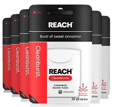 6-Pack 55-Yards Reach Cleanburst Waxed Dental Floss (Cinnamon Flavored) $5.82 + Free Shipping w/ Prime or $25+