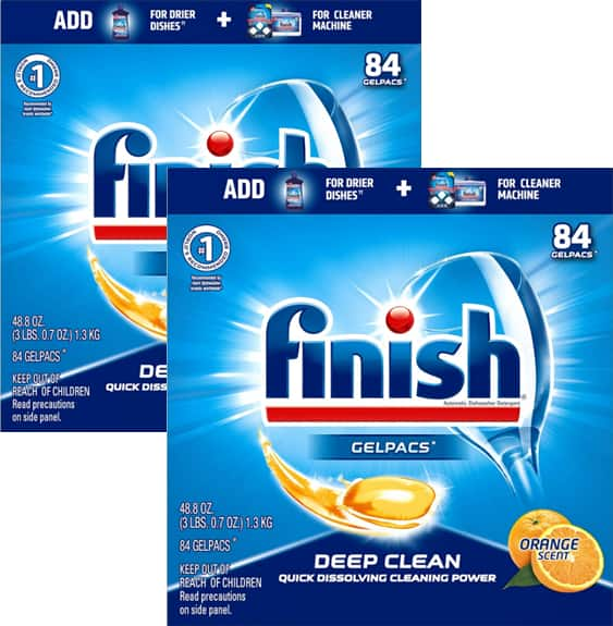 84-Count Finish All In 1 Gelpacs Dishwasher Tablets (Orange) 2 for $16.96 ($8.48 each) + Free Shipping w/ Prime or on $25+