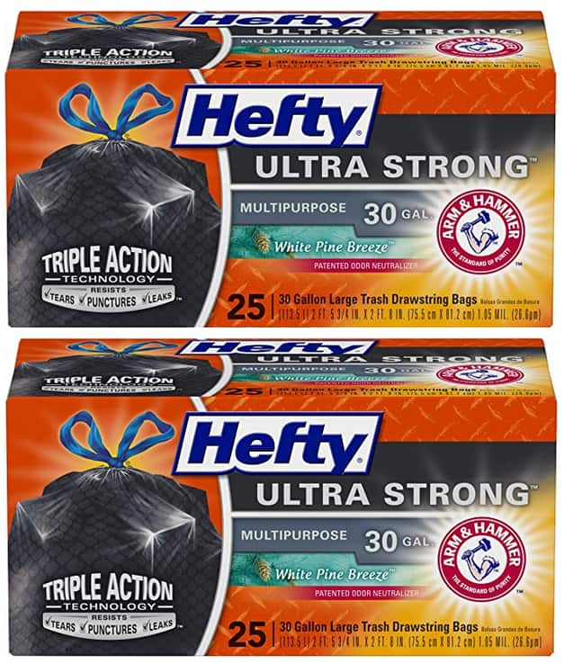 25-Count 30-Gallon Hefty Ultra Strong Trash Bags (White Pine Breeze) 2 for $8.28 ($4.14 each) w/ S&S + Free Shipping w/ Prime or on $25+
