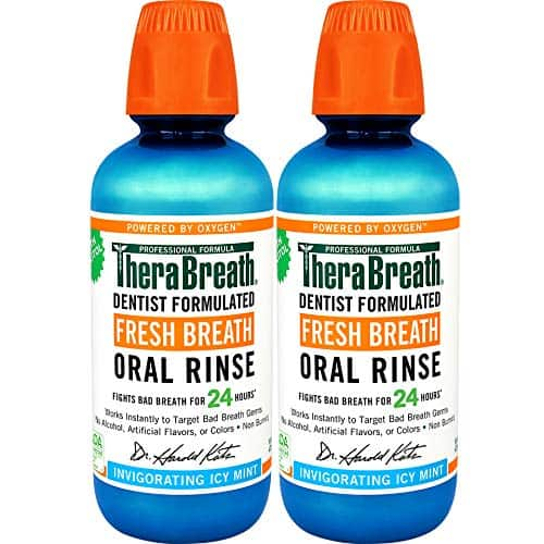 2-Pack 16-Oz TheraBreath Gluten-Free Fresh Breath Oral Rinse (Icy Mint) $10.85 w/ S&S + Free Shipping w/ Prime or $25+