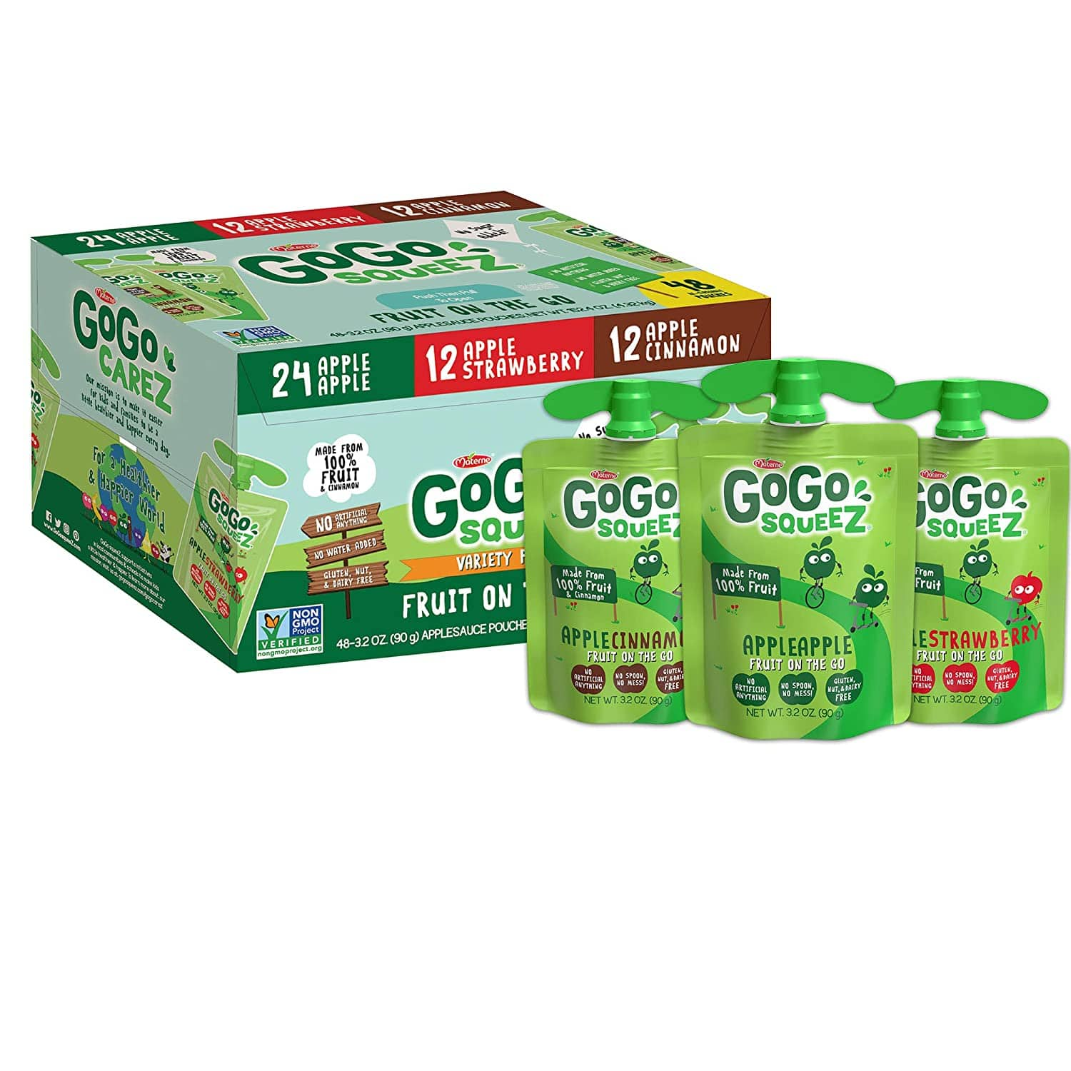 48-Ct 3.2-Oz GoGo squeeZ Applesauce (Apple Apple/Apple Strawberry/Apple Cinnamon) $16.49 w/ S&S + Free Shipping w/ Prime or on $25+