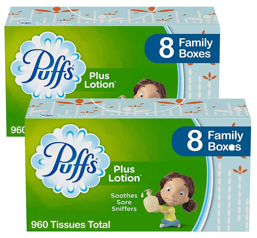 8-Pack 120-Sheet Puffs Plus Lotion Facial Tissues $10.39 w/ S&S + Free Shipping w/ Prime or on $25+