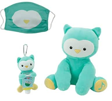 WelloBeez Singing Plush Animal Toy w/ Kids' Face Covering & Plush Keychain w/ Refillable Sanitizer Bottle: Owl $10.70 & More + FS w/ Amazon Prime or FS on $25+