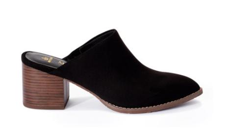Melrose Ave Women's Shoes: Vegan Suede Pointed Toe Block Heel Mules (various) $10, Vegan Leather V-Gore Block Heel Booties (various) $10 & More + FS w/ Walmart+ or FS on $35+