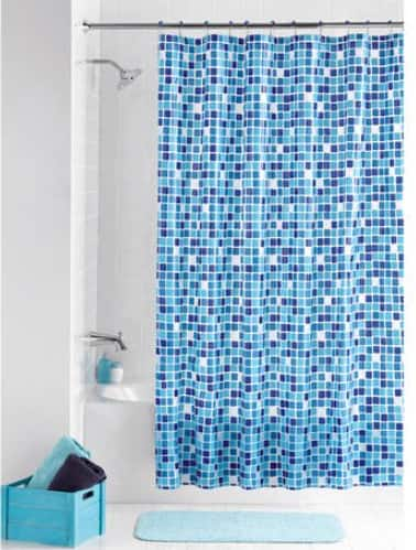 Mainstays: Mosaic Peva Shower Curtain & 12 Hooks Set $5.90, Cayden Fabric Shower Curtain & 12 Hooks Set $7.42 + FS w/ Walmart+ or FS on $35+
