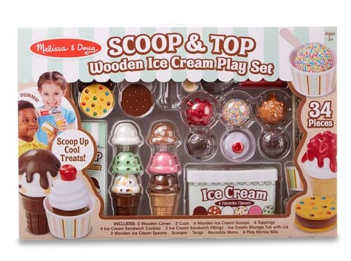34-Piece Melissa & Doug Scoop and Top Wooden Ice Cream Play Set $20 + free store pickup at Kohl's