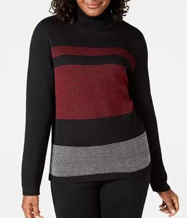 Karen Scott Women's Sweater Sale: Petite Colorblocked Cotton Turtleneck Sweater (various) $10, Pointelle Marled Cardigan (various) $12.33 & More + Free Ship to Store at Macy's