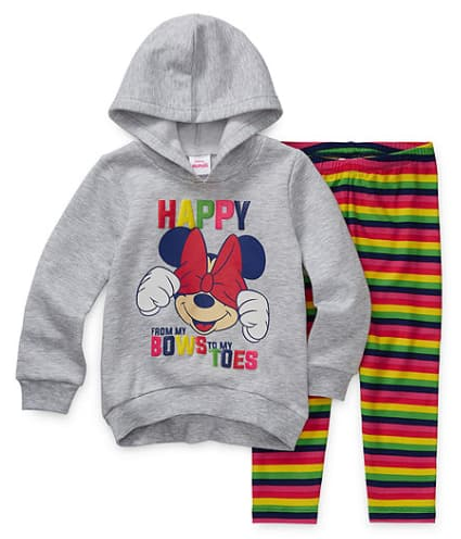 2-Piece Disney Girls' & Boys' Toddler Apparel Sets: Minnie Mouse Girls' Hoodie w/ Leggings $10.50, Frozen Boys' Hoodie w/ Pants $12 & More + Free Store Pickup at JCPenney