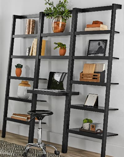 Mainstays Sumpter Park Ladder Bookcase Desk (solid black) $64.79 + Free Shipping