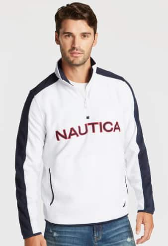 Nautica Up to 70% Off Clearance Styles + 15% Off: Men's Quarter Zip Logo Nautex Fleece Pullover (various) $17, Women's Signal Flag Graphic Tee (navy) $9 & More + Free Ship on $50+