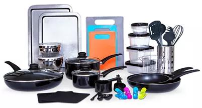 64-Piece Sedona Kitchen-In-A-Box Cookware & Food Storage Set