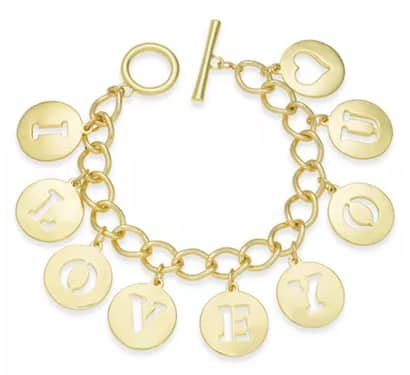 Charter Club Holiday Lane: I LOVE YOU Charm Bracelet (gold or silver) $6.40, Gold Tone Crystal XOXO Pin $6.40 & More + Free Ship to Store or Free Ship on $25+