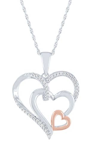 Women's Jewelry: 14K Rose Gold 1/10 CT. T.W. Diamond Over Silver Heart Pendant $25, Sterling Silver White Sapphire Heart Stud Earrings $15 & More + Free Ship to Store on $25+