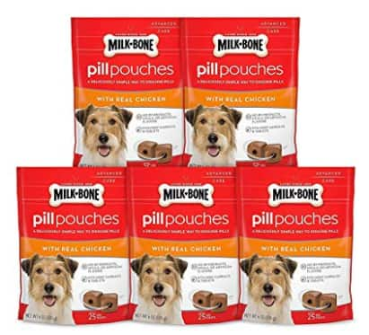 5-Pack (25-Count) Milk-Bone Pill Pouches for Dogs (chicken or hickory smoked bacon) $14.83 ($2.97 ea.) w/ S&S + Free Shipping