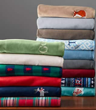 "Lands End 50\"" x 70\"" Plush Fleece Throw Blanket (various)"