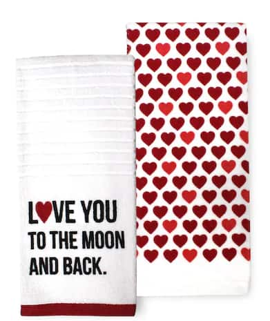 Kohls Cardholders: Valentine's Day Home Decor & Gifts: 2-Pack Love You to The Moon & Back Kitchen Towels $3.91, Conversation Hearts Wreath $6.99 & More + Free S&H