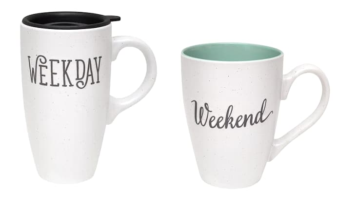 Kohl's Cardholders: Belle Maison: 2-Piece Weekday/Weekend Mug Set $5.60, Love & Hot Chocolate Sweater Mug $4.20 & More + Free S/H