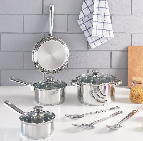 10-Piece Mainstays Stainless Steel Cookware Set w/ 3 Kitchen Tools $19.88 + Free Store Pickup at Walmart, or Free S/H on $35+
