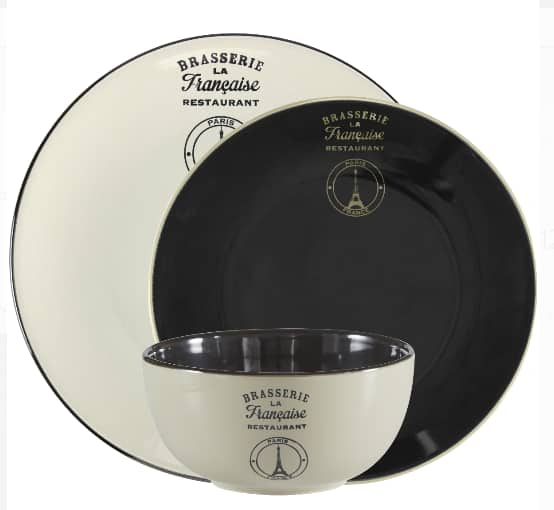 12-Piece Mainstays La Francaise Black Round Stoneware Dinnerware Set (Service for 4) $16.02 & More + Free S/H on $35+