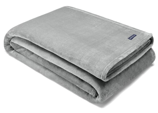 "Nautica: 90"" x 66"" Flagstone Ultra Soft Plush Twin Blanket (grey heather) $14.65, 8"" Tri-Colorblock Men's Swim Trunks (various) $15.30 + Free Shipping on $50+"
