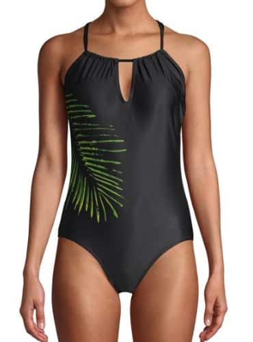 Women's Swimwear: Simply Fit 1-Piece Hi Neck Swimsuit (black or palm print) $9.50, Juicy Couture Nailhead 1-Piece Swimsuit (white or black) $16.50 & More + Free S/H on $35+