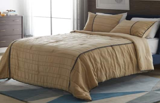3-Piece MoDRN Mid Century Faux Suede Comforter Set (Queen, Khaki) $15, 3-Piece MoDRN Embroidered Bedspread Set: Full/Queen (Black/Taupe) $20 & More + Free S/H on $35+