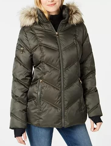 Nautica Women's Faux-Fur-Trim Hooded Puffer Coat (various colors) $29, GUESS Women's Hooded Faux-Fur-Trim Puffer Coat (black) $33 & More + Free S/H on $25+