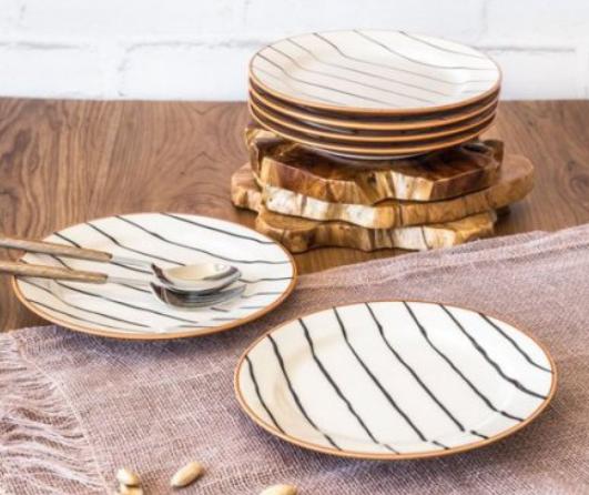 Better Homes & Gardens: 6-Pc. Sabin Striped Salad Plates or Mugs $7.88 Each, 12 Pc. Indigo Swirl Dinnerware Set (Service for 4) $16.96 + Free S/H on $35+